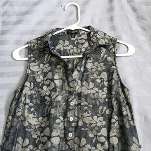 Chambray floral shirt dress